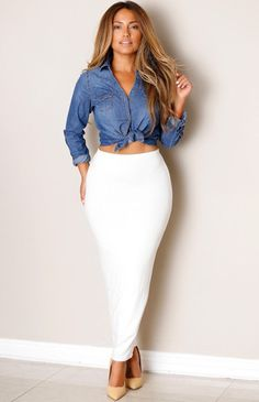 Ivory Fitted Skirt