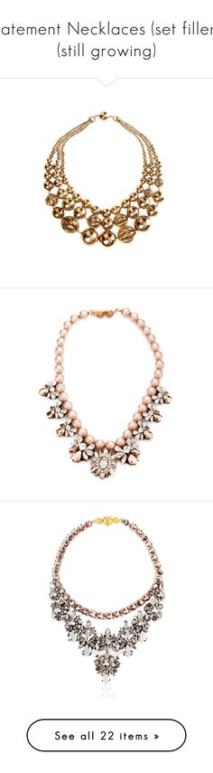 """""""Statement Necklaces (set fillers) (still growing)"""" by hafsahshead ❤ liked on Polyvore featuring jewelry, necklaces, gold, gold beaded jewelry, beaded jewelry, chunk jewelry, bead necklace, boho necklace, accessories and colar"""