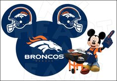 Denver Broncos football with Mickey Mouse INSTANT DOWNLOAD digital clip art :: My Heart Has Ears