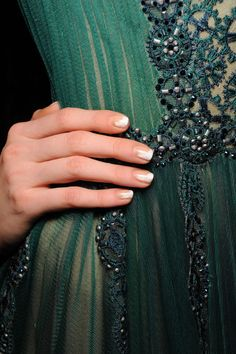 White and nude nails at Tadashi Shoji fall 2015