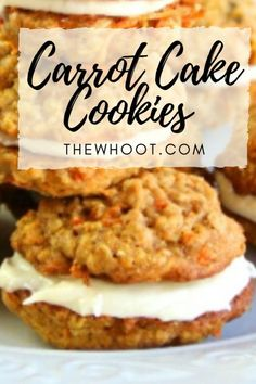 This Carrot Cake Cookies with Cream Cheese Filling is a taste sensation. They are utterly delicious and we have a video tutorial to show you how. Carrot Cake Sandwich Cookies, Carrot Cake Cookies, Cookie Sandwiches, Cream Cheese Cookies, Cream Cheese Filling, Recipes With Cream Cheese, Cream Cheese Desserts, Cream Cheeses, Just Desserts