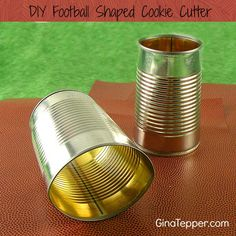 Learn how to create a football cookie cutter out of a reused can to make football shaped brownies, cookies and treats for your next tailgate party. Football Tailgate, Football Snacks, Football Birthday, Tailgate Food, Football Parties, Alabama Football, Football Season, Tailgating, Tailgate Parties