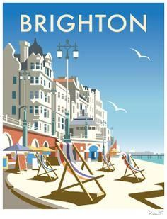 "my-world-of-colour: "" England - Brighton Vintage travel poster Saved from davethompsonillus. "" - my-world-of-colour: "" England – Brighton Vintage travel poster Saved from davethompsonillus… "" - Old Poster, Poster Retro, Poster Print, Vintage Travel Posters, Poster Poster, Posters Decor, Art Deco Posters, Retro Advertising, Vintage Advertisements"