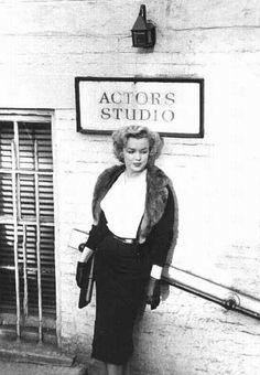 "marilyn-monroe-collection: "" Marilyn Monroe leaving the Actors Studio, 1955. """