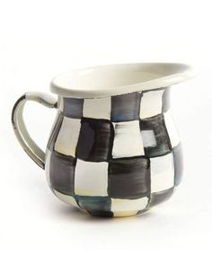 MacKenzie-Childs Courtly Check Enamel Little Creamer #Hand#underbody#painted