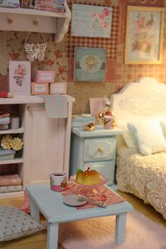 "DIORAMA ""CLEAR SKY BEDROOM""( around 16 cm size dolls ) 