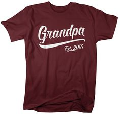 Shirts By Sarah Men's Grandpa Est. 2016 T-Shirt Fathers Day Ring Spun Shirt (Cardinal Xlarge) -- Awesome products selected by Anna Churchill