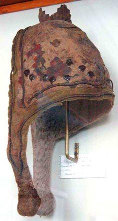 Man's head-dress. Pazyryk barrow no. 3, 299-260 BCE. Felt, leather, gold. Pub.: Rudenko 1953, p. 113-115; pl. XCVI/2; Rudenko 1970, p. 90-91; pl. 155B.