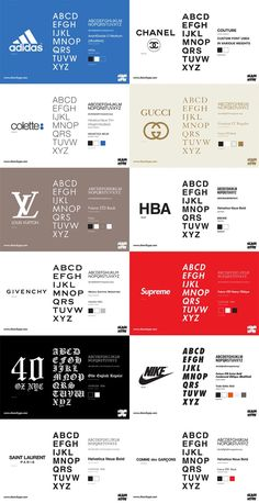 Every Streetwear Font and Fashion House Font In One Infographic - SLAMXHYPE