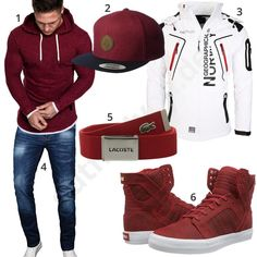 Men& outfit with a wine red hoodie, cap and sneakers - - Cool men& style with burgundy Amaci & Sons hoodie, Volcom cap, Lacoste fabric belt, high Supr - Dope Outfits For Guys, Swag Outfits Men, Casual Outfits, Men's Outfits, Summer Outfits, Hype Clothing, Mens Clothing Styles, Tomboy Fashion, Casual Styles
