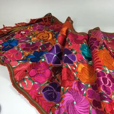 Bright Colors 4' Long Mexican Embroidered Table Runner Textile