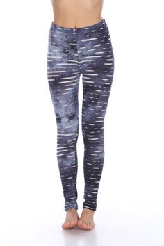 a3708db71beef0 White Mark Women's Distressed Printed Leggings, Size: Medium, Navy Camouflage  Leggings, Boyfriend