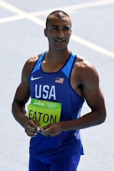 Ashton Eaton of the United States reacts after competing in the Men's Decathlon…