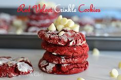 Red Velvet Crinkle Cookies | Kitchen Meets Girl | These cookies came out so soft and chewy; but I have to admit, they were a little plain for my liking. So I added even more powdered sugar. And about a cup of white chocolate chips to the batter. Because everything is better with more chocolate, yes? Try them here!