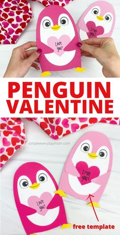 Get creative this Valentine's Day when your kids make this cute penguin Valentine craft! Download the free printable template and make it at home or at school. Valentine's Day Crafts For Kids, Diy Projects For Kids, Kid Crafts, Diy For Kids, Valentine Crafts For Kids, Valentines Diy, Holiday Crafts, Activities For 1 Year Olds, Penguin Craft