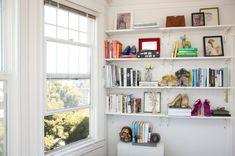 Shoe display on bookshelf // 40 shoe organizing tips and tricks // closet organizing // professional organizer // www. simplyspaced.com