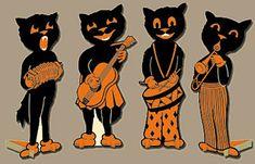 black kitty paper doll band