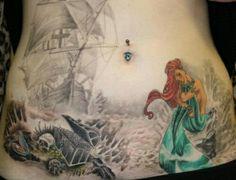 Mermaid, ship and treasure chest