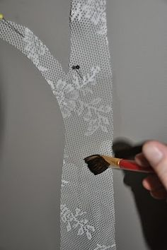 Timber and Lace: DIY Starched Fabric Wall Decal