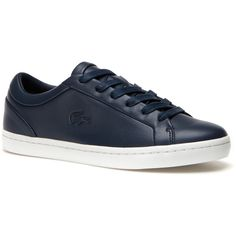 Lacoste Women's Straightset Sneakers featuring polyvore, women's fashion, shoes, sneakers, navy, sneakers sneakers, leather shoes, lacoste sneakers, leather sneakers, navy leather shoes and crocs shoes