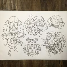 WEBSTA @ danb_tattoo - Lined this new A3 sheet today of #starwars designs. All available to be tattooed and possibly some prints once coloured.I still have some slots free this month i'd love to fill with these designs or any other cool ideas! Email me for appointments danberrytattoo@gmail.com@custompropagandatattoo#tattoo #tattoos #tattooed #tattooer #tatted #tattooartist #tattooart #tattooflash #traditionaltattoo #traditionaltattooflash #neotrad #neotradtattoo #neotraditional…