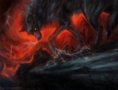 Vengeance by Kipine on DeviantArt Anime Wolf, Fantasy Wolf, Fantasy Art, Fantasy Creatures, Mythical Creatures, Art Wolfe, Demon Wolf, Shadow Wolf, Wolf Wallpaper