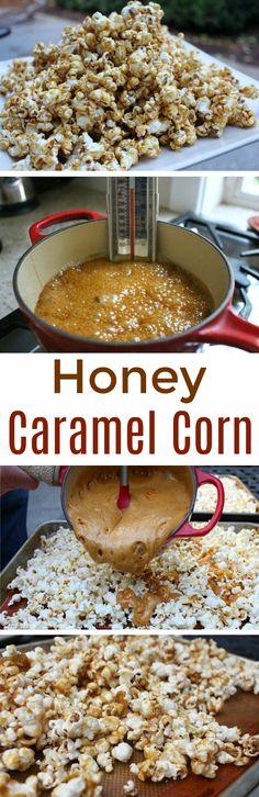 Honey Caramel Corn Recipe - One Hundred Dollars a Month - Trend Holiday Popcorn 2020 Snack Mix Recipes, Popcorn Recipes, Cooking Recipes, Caramel Corn Recipes, Honey Caramel, Easy Halloween Food, Diy Snacks, Fabulous Foods, Sweet Recipes