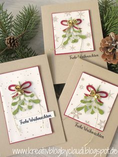 """A mistletoe should be on some Christmas cards. With the Thinlits """"Fir . - Anything Santa - # Company Christmas Cards, Christmas Cards 2018, Printable Christmas Cards, Stampin Up Christmas, Xmas Cards, Handmade Christmas, Holiday Cards, Ideas Scrapbook, Stampin Up Weihnachten"""