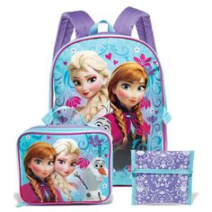 """Set includes a 16"""" H x 12"""" W x 5"""" D backpack, an attachable 7 1/4"""" H x 9 1/4"""" W x 3"""" D lunch box and a 6"""" H x 6 1/2"""" W reusable sandwich/snack pouch. Ages 5 and up. Polyester, plastic. Imported.©Disney"""