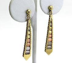 14K Tri-Tone Satin Finished Textured Drop Earrings 14K White Yellow & Rose Gold