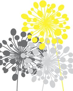 Abstract Floral Dandelion Art Prints Set of 10 or // Grey Yellow // Modern Flower Home Wall Art Decor, Unframed - New Deko Sites Abstract Wall Art, Canvas Wall Art, Wall Art Prints, Painting Abstract, Painting Art, Home Wall Art, Wall Art Decor, Dandelion Art, Art Moderne