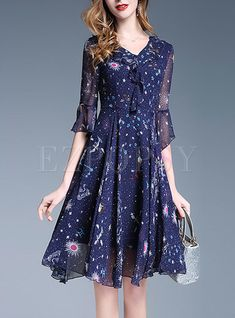 Shop for high quality Chiffon Tied Mesh Flare Sleeve Pleated Dress online at cheap prices and discover fashion at Ezpopsy.com
