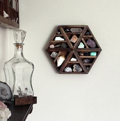 one of a kind handmade hexagon wood wall shelf by stoneandviolet, $180.00