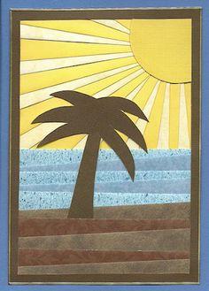 seascape background (using scraps? Iris Folding Templates, Iris Paper Folding, Iris Folding Pattern, Patchwork Cards, Beach Quilt, Decoupage, Summer Quilts, Landscape Quilts, Sewing Art