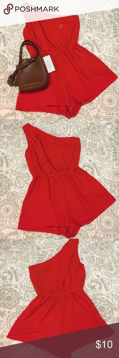 "Forever 21 XXI One Shoulder Romper Forever 21 XXI One Shoulder Romper EUC Size: Large Color: Orange Red Fabric Composition: 100% Polyester Measurements when Flat: Bust: 17"" Waist: 12"" Waist: 21"" Length: 31""  *Perfect for day and night! In excellent condition. Forever 21 Pants Jumpsuits & Rompers"