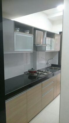 Kitchen with marble flooring and cabinets by Hemangi Chaudhari-pawar Parallel Kitchen Design, Kitchen Bar Design, New Kitchen Designs, Interior Design Kitchen, Kitchen Decor, Kitchen Furniture, Furniture Design, Kitchen Storage, Furniture Ideas