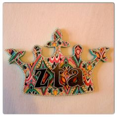 Zeta tau Alpha craft... Crown Jewels pattern modge podge onto Crown with pearl outlines
