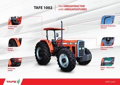 One #MEGATRACTOR with the power of#100HORSES: The TAFE 1002 is a complete #MEGATRACTOR with power-packed #MEGAFEATURES that redefine the pleasure of farming.  Know more about the TAFE 1002 here:http://tafe.com/product.php?product_id=79  *Available in select overseas markets. tafe.com | tafecafe.com