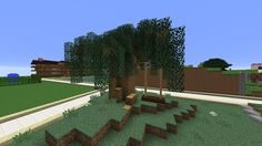 Minecraft willow tree - Made from spruce leaves, oak wood. Swing made from oak fences and dark oak slabs.