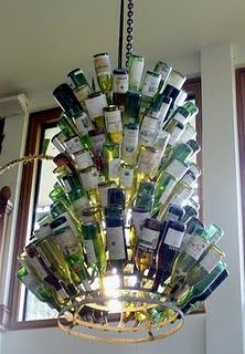 AWESOME wine bottle chandelier...for bar in the basement