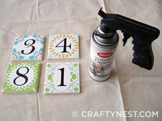 DIY house number (she designed printable numbers, affix to plain tile with outdoor mod podge. So simple! Tile House Numbers, House Tiles, Ceramic House Numbers, Ceramic Tile Crafts, Number Crafts, Do It Yourself Inspiration, Printable Numbers, Tile Projects, Tile Coasters