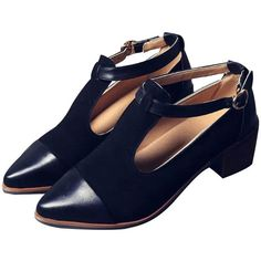 LUCLUC Black London-style Pointed Shoes (53 BAM) ❤ liked on Polyvore featuring shoes, pointy shoes, black shoes, kohl shoes, black pointy shoes and long shoes