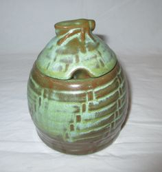 Frankoma Pottery Bee Hive Honey Pot with Lid, #803, Prairie Green-Rutile, ca. 1970s by CRCRUMSEY on Etsy