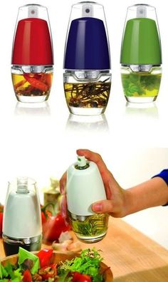 table top oil misters. just pour in you favorite oil, pam ,salad dressing and you can add stuff in them to flavor your oil