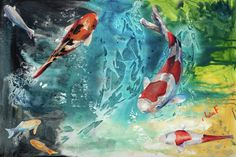 Koi Oasis Painting  - Koi Oasis Fine Art Print
