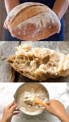 Amazing no knead bread recipe with video tutorial! This SUPER flavorful homemade bread requires 1 bowl, 4 ingredients and no work. Gorgeous crust and moist crumb! Variations of traditional white bread and healthy whole grain bread recipes included. Diy Pizza Oven, Pizza Oven Outdoor, Knead Bread Recipe, No Knead Bread, Healthy Bread Recipes, Four A Pizza, Whole Grain Bread, Artisan Bread, How To Make Bread
