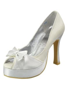 White 4 7_10 Heel 1 Platform Open Toes Wedding Shoes. This kind of wedding shoes features its open toes design with bow decoration.Heel height is 4 7_10 and the platform is 1.. See More Bridal Shoes at http://www.ourgreatshop.com/Bridal-Shoes-C919.aspx