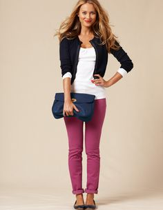 love the purple pants with the navy and white.