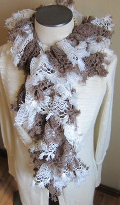 Knitted Scarf made with Red Heart Boutique Chateau by Kitkateden, $18.00