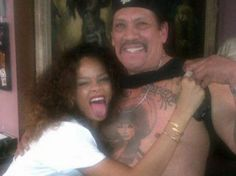 Rihanna Gets Overly Friendly with Danny Trejo's Chest Tattoo - That ink woman is old enough to be her mother.